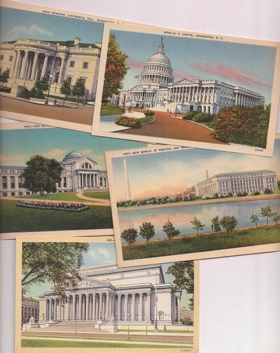 vintage washington dc postcards bundle of 5 district of