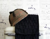 Black Scarf Hand Knit Checkerboard for Men, Ready to Ship
