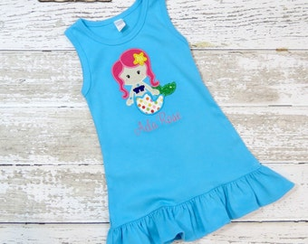 Mermaid Dress, Appliqued Dress, Embroidered Dress, Monogrammed Dress, Toddler Dress, Summer Dress, Sundress