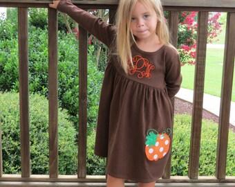 Thanksgiving Dress, Fall Knit Dress, Appliqued Dress, Embroidered Dress, Monogrammed Dress, Toddler Dress