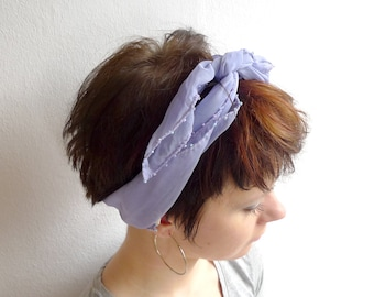 Lilac Beaded Chiffon Scarf, Knotted Headband, Lilac Headscarf, Chiffon Bandana, Pastel Lilac Neck Scarf, Spring Summer Sheer Scarf