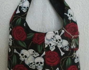 Skull Purse With Crossbone Charm, gothic clothing goth clothing fantasy clothing renaissance medieval pirate halloween day of the dead