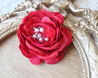 Red  color velvet beaded flower with back clip
