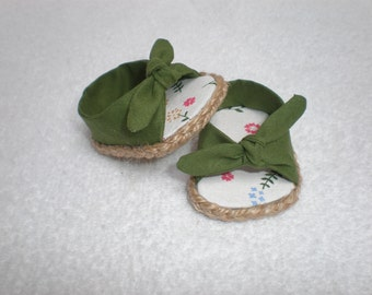 GREEN Open Toe, Tie On Espadrilles 18 inch doll clothes