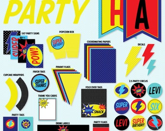 Super Hero Party PRINTABLE Birthday Kit by Love The Day