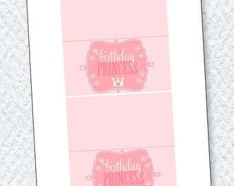 Princess Party PRINTABLE Fold Over Labels by Love The Day