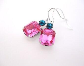 Magenta Crystal Earrings Pink Blue Rhinestones Estate Style Jewelry