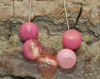 Pink Resin Beads strung on silver snake chain