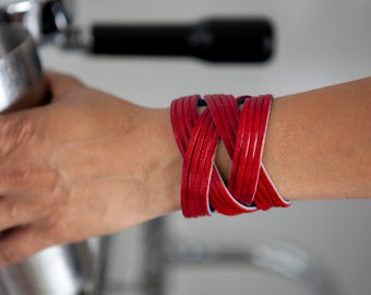 Red Leather Cuff, Valentine's Day Gift  - the Jazz