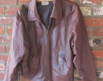 Distressed Italian Leather Bomber Jacket 90s Vintage Brown Cropped Motorcycle Moto Vera Pelle - 44 Large Men Women