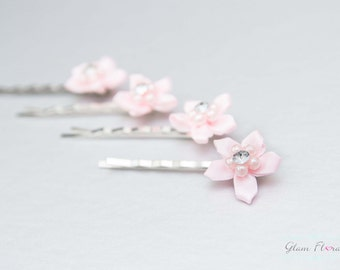 Set of 4 Pink Stephanotis Bobby Pins ...with Rhinestone & Pearl Centers, hair clips, U pins, bridesmaid, flower girl