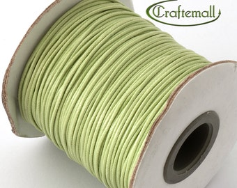 Pale green waxed polyester cord - 1mm wax polyester cord - 10m