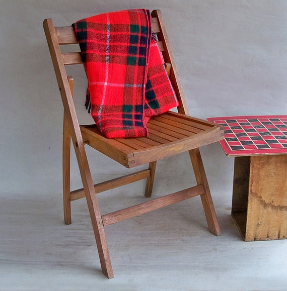 MId Century Wood Folding Chair Nice Patina by leapinglemming