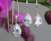 Bridal jewelry set - necklace and earrings, wedding, CZ jewelry, wedding jewelry set, wedding jewelry set, bridal necklace, bridal earrings