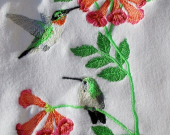 Hummingbirds Embroidered Kitchen Flour Sack, Tea, or Waffle Weave Towel