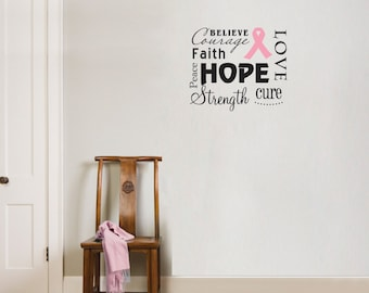 Love Hope Courage Strength Breast Cancer Wall Decal