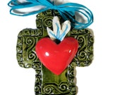 A Heart on Fire Never Gives Up Cross with Flaming Heart on Cobalt or Camel or Green Glaze