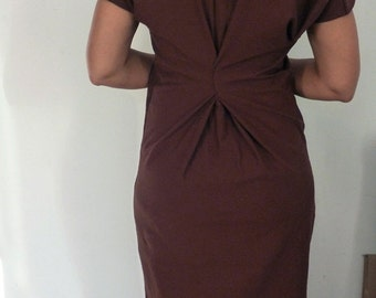 Brown cotton lycra dress with stitch detail on sleeve,front and back of dress/handmade by Cheryl Johnston