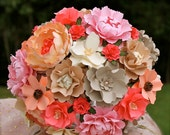 Blush Pink, Coral and Champagne - Paper Bouquet - Customize your Style and Colors - Made To Order