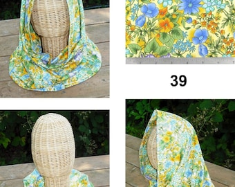Fabric Cowl Hooded Hood Infinity Circle Scarf Women Fashion Accessories Cotton Blend Fully Lined Mardi Gras Flowers Stainglass