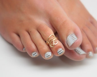 Double Spiral Toe Ring, Silver, Gold and Copper