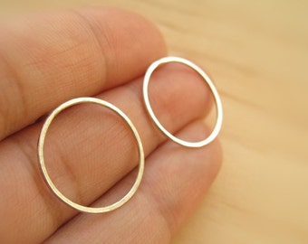 Sterling Silver Circle Stud Earring Large Pair // Silver or Oxidized
