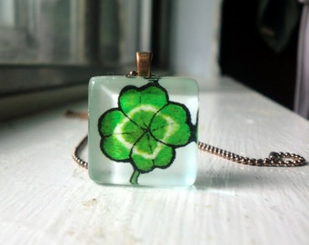 Lucky Four Leaf Clover Green Necklace - Green Watercolor Art Print Pendant - St Patricks Day