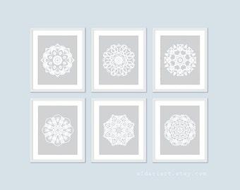 Mandalas Digital Print Set of Six - Wall Art - Grey Neutral Color  -Modern Contemporary Unique Home Decor