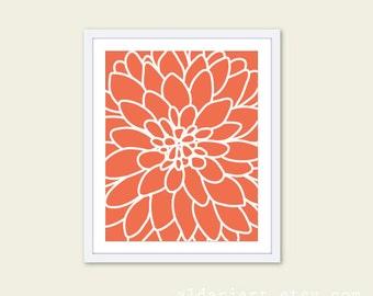 Dahlia Wall Art - Dahlia Flower No.2 Art Print - Original - Modern Home Decor - Coral - Under 20