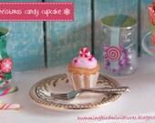 Christmas Cupcake 'Xmas' Candy  - 1/12 Scale Dollhouse Miniature