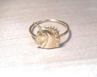 Unicorn Ring, Unicorn Knuckle Ring, Knuckle ring, Layering Ring, Gold Brass Ring, Midi Ring, Stacking ring, Gold Unicorn ring