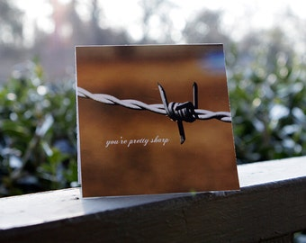 You're Pretty Sharp 4x4 glossy blank folded greeting card - Southern, charming, barbed wire, ranch farm, south, tennessee, country, horse,