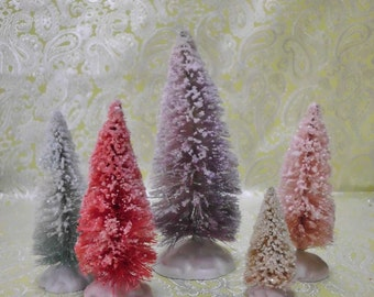 Hand Dyed and Glitter Dusted SNOWY Bottle Brush Trees Set of 5 Vintage Inspired Sisal Trees Cottage Chic Easter Decoration
