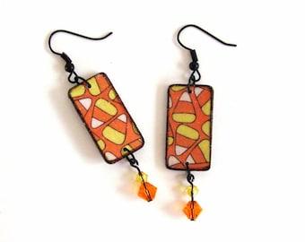 Candy Corn Earrings Decoupaged Halloween Fashion Crystal Jewelry Orange Yellow White