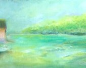"""Original Oil Painting, Water Landscape. """"Swimming Hole"""""""
