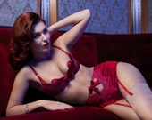CHER Rouge Red silk satin Quarter Cup padded Bra  - Red Valentines Lingerie gift