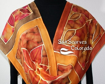 Hand Painted Silk Scarf. Brown & Terracotta Floral Scarf AUTUMN IMPRESSIONS. Size 11x60 in. Silk Scarves Colorado. Hand Dyed Scarf 100% silk