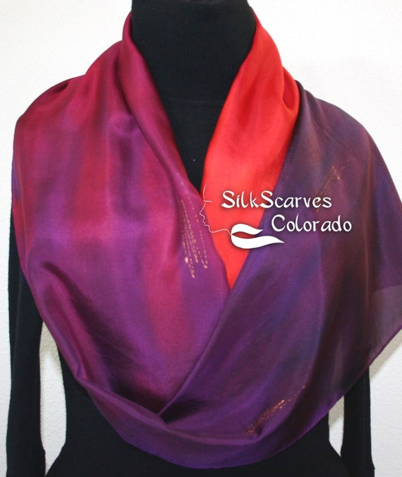 Hand Painted Silk Scarf.  Purple & Red Silk Scarf. Sunset Hug Silk Scarf. Silk Scarves Colorado.  LARGE 14x72. MADE to ORDER.