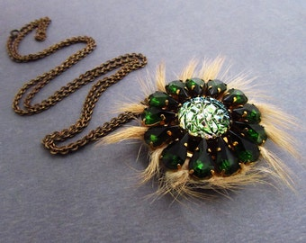 Unusual Fur & Bohemian Glass Pendant- Green and Gold- Strange Vintage Necklace Fuzzy Unique Emerald Bohemian Odd Lovely Long Chain