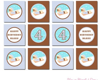PRINTABLE Personalized Boy Sledding Party Circles