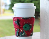 Christmas Cup Cozy - Coffee Sleeve - Red and Green Christmas Trees - Secret Santa / White Elephant Gift Exchange - Coworker Xmas Gift