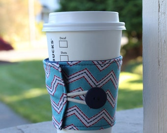 Chevron Coffee Cup Sleeve by CK Stitches - Reusable Cup Cozy - Red, White, and Blue Chevron - Stocking Stuffer - Holiday Gift - Drink Cozy