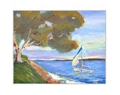 Ocean Painting California Seascape Impressionist Painting 8X10 Wall Art