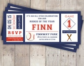 Baseball Birthday Invitations - Baseball Ticket - baseball birthday party - Rookie Year - print your own