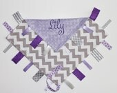 PERSONALIZED Baby Girl Chevron Ribbon Tag Sensory Blanket with Pacifier Clip Large 16 x 16 Lavender Minky