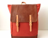 Backpack No.5 --Dark Coral Red Water Resistant Canvas with Leather