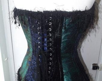 Peacock gothic corset feather print for burlesque /costume/ wedding custom UK 8-10