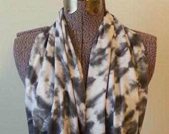 Tie Dye Infinity Scarf -- Charcoal Grey