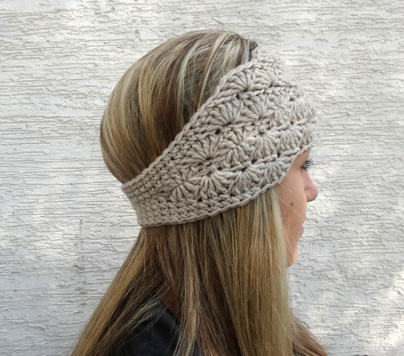 Free Crochet Pattern Headband Ear Warmer Button : Crochet Ear Warmer Winter Headband Womens Crochet by ...