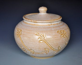 Ceramic Lidded Jar Hand Made Pottery B